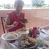Garfors enjoyed a typical seafood meal while in Zambia.