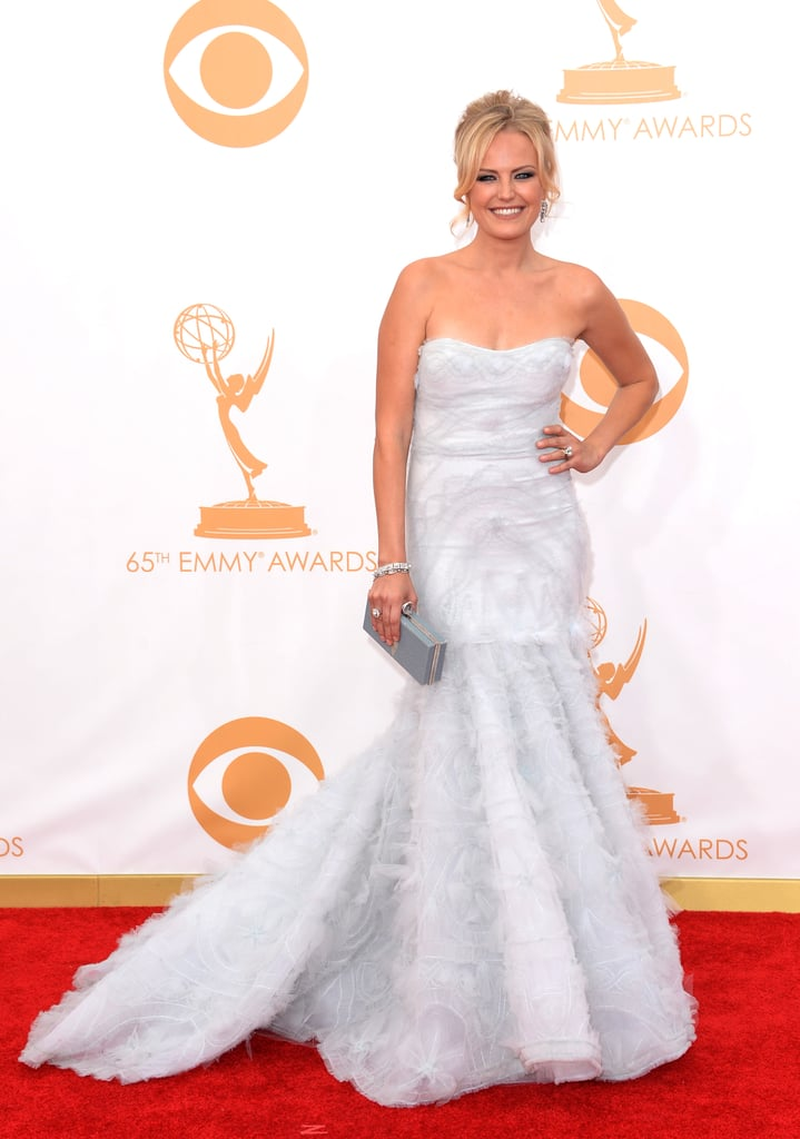 White Monique Lhuillier gave Malin Akerman's formal look a bridal feel that we totally approved of.