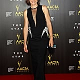 Claudia Karvan's black MATICEVSKI gown from the Summer 2014 line featured a plunging, sheer neckline.