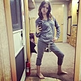 """Sorry for all the sexiness I'm serving in my warming clothes between scenes. #CAKE #WhatsUpLadies #NightShoots #SweatpantTuxedo,"" Anna Kendrick captioned this photo. Source: Instagram user annakendrick47"