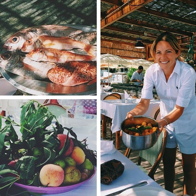 "Reese revealed details about local cuisine with this pretty collage: ""Oh boy. The restaurant Lo Scoglio, where you sit staring out at sea, the fish is caught fresh off the dock, and those tomatoes are straight from the garden. #Heaven."" Source: Instagram user reesewitherspoon"
