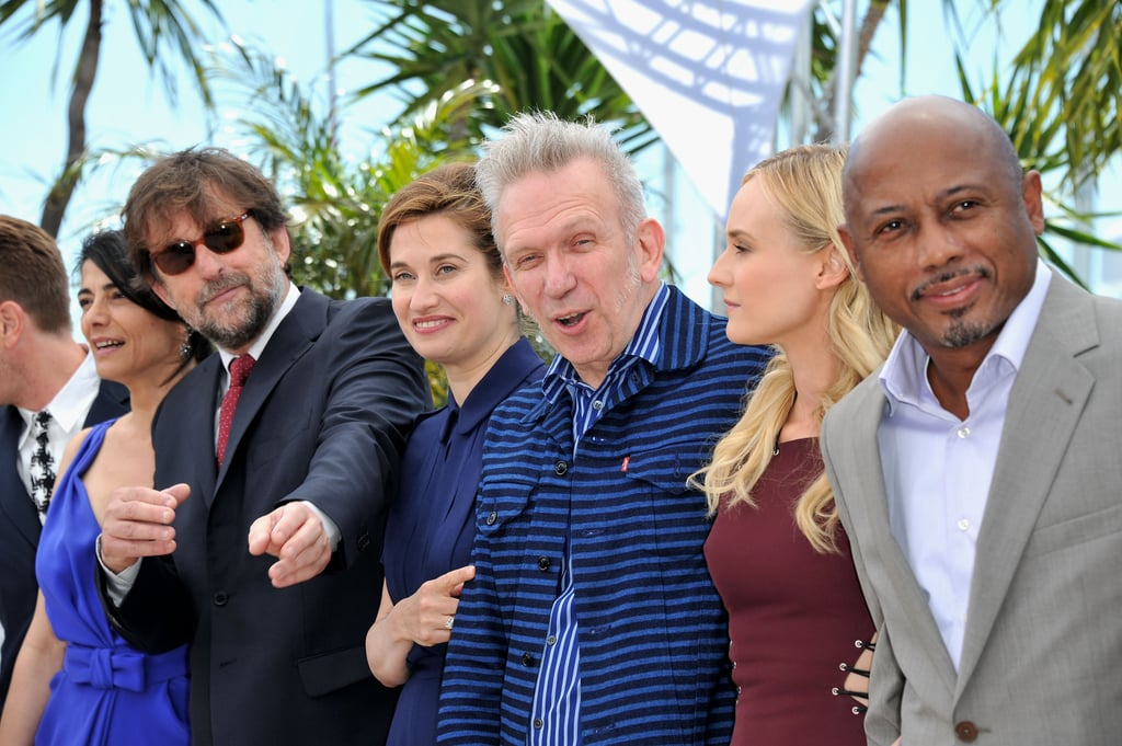 Raoul Peck, Diane Kruger, Jean-Paul Gaultier, Emmanuelle Devos, and Nanni Moretti posed during the jury photo call in Cannes.