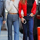 Bella Also Wore a Pair of Striped High-Waisted Flares . . .