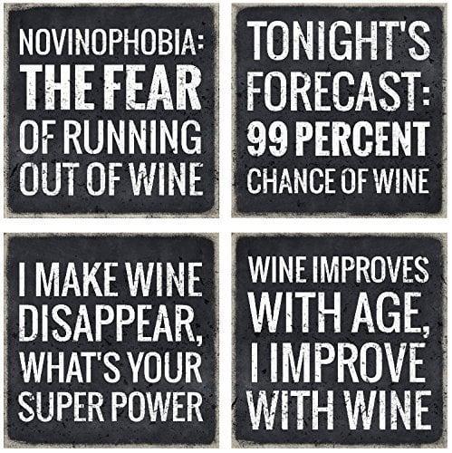 VinoPlease 4 Wine Coasters