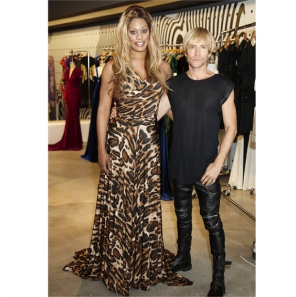 She also has a thing for leopard print. Here, she's pictured with designer Marc Bouwer.