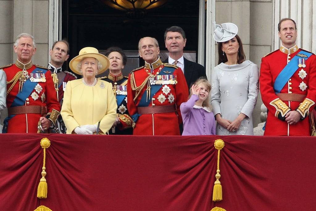 Kate Middleton, Prince William, Prince Charles, Prince Philip, and Queen Elizabeth were present at the Trooping the Colour ceremony in London.