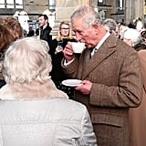Prince Charles Casually Sipped Tea in a Crowd of People