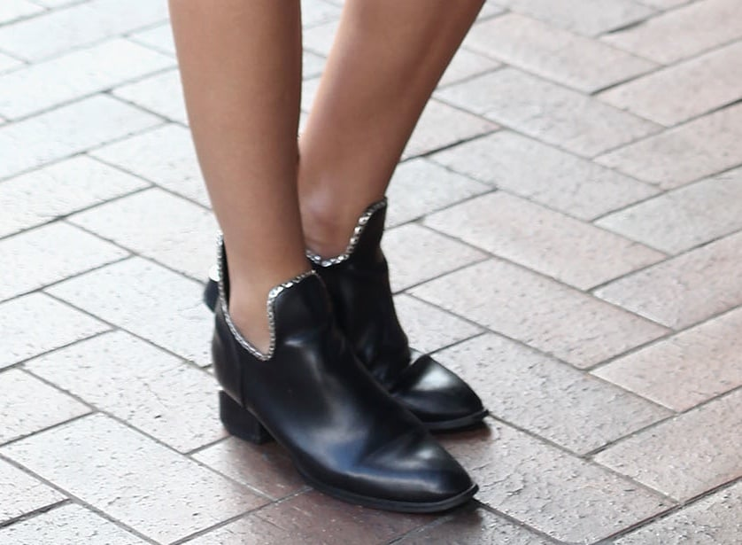 Her Alexander Wang ankle boots got a silver sequin DIY makeover!