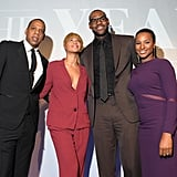 Beyonce Knowles wore a red suit at the NYC awards.
