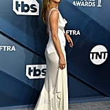 Jennifer Aniston White Silk Slip Dress at the SAG Awards