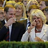William and Camilla could hardly contain their laughter during the opening ceremony of the Invictus Games in London in September 2014.