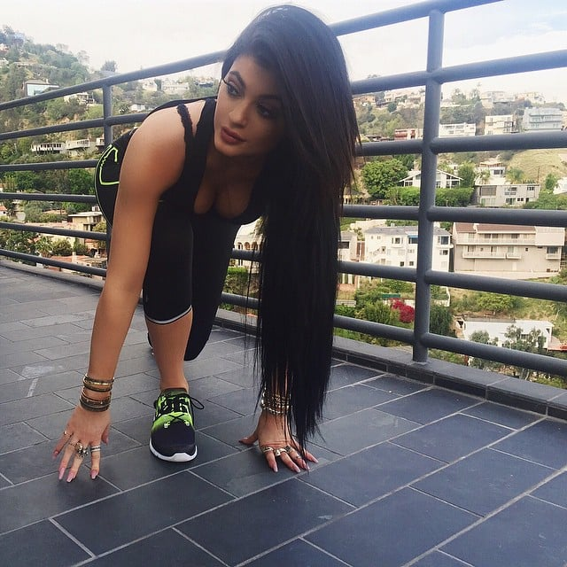Kylie Jenner tried out her Reebok ZPump shoes.