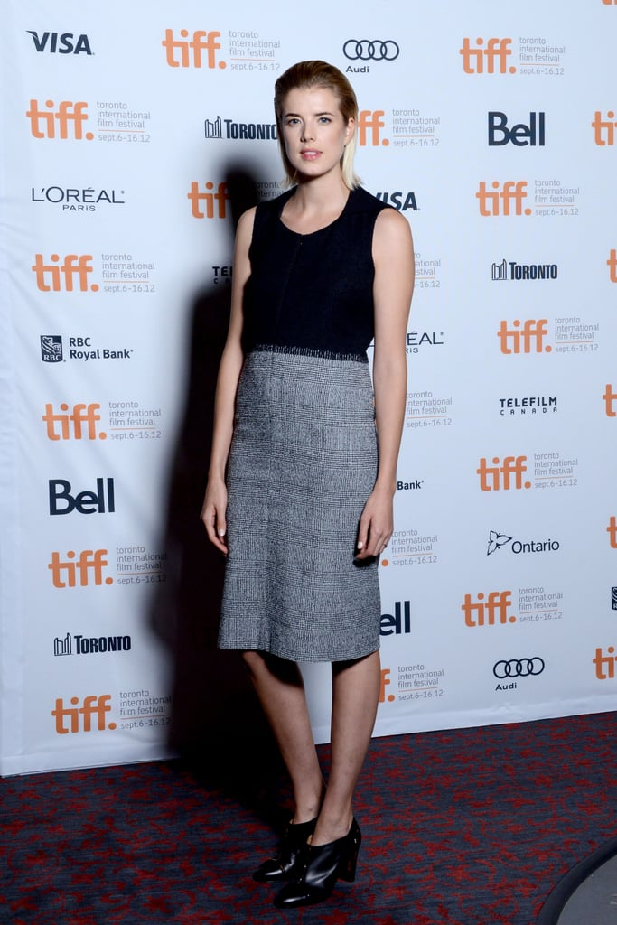 Agyness Deyn brought her signature low-key style to Toronto, wearing a black tank top with a grey pencil skirt and black ankle boots.