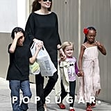 Angelina Jolie took an early morning stroll around New Orleans's French Quarter with Zahara, Vivienne, and Pax Jolie-Pitt in March.