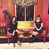 "Here, Jamie Brewer posed with another ""role model"" at Carrie Hammer's preshow drinks on the eve of her show."