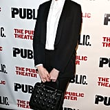 Anne Hathaway went with a black and white ensemble for a performance of Josephine and I in NYC on Tuesday.