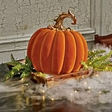 Grandin Road Large Ornate Velvet Pumpkin in Orange
