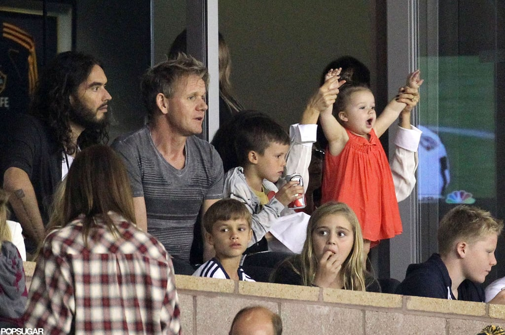Harper Beckham watched David Beckham play soccer with her brothers, Romeo, Cruz, and Brooklyn, in LA.