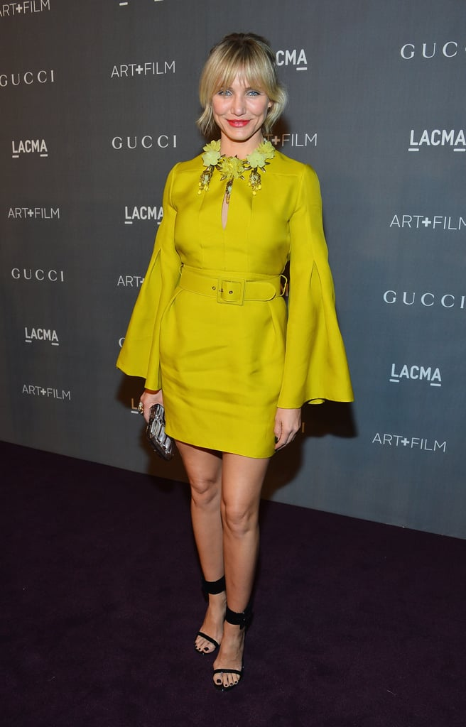 Cameron Diaz embraced a bright hue on a mini from Gucci's Spring '13 collection with bell sleeves and a key-hole neckline.