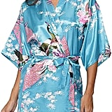 Light Blue Robe With Peacocks and Flowers