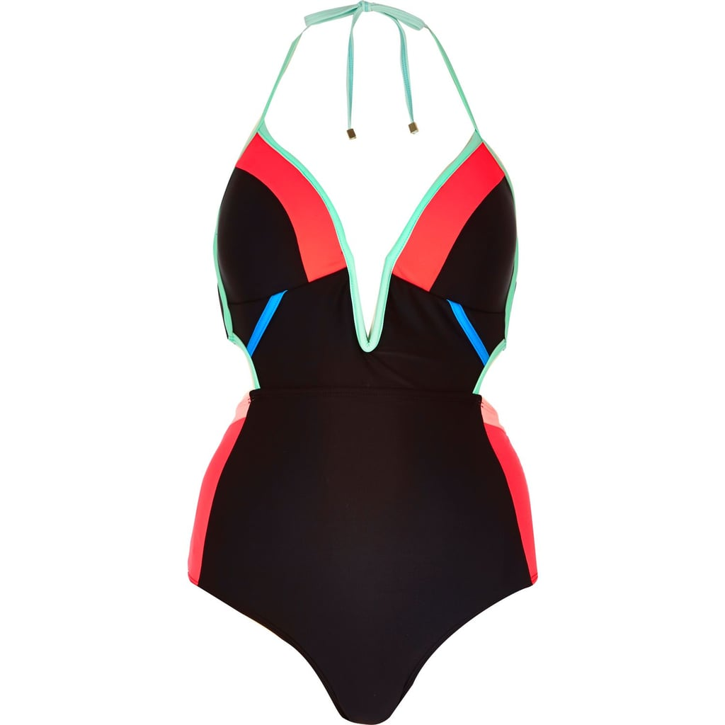 River Island Black Color Block Cut-Out Swimsuit ($70)
