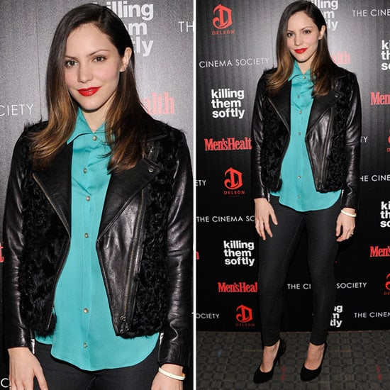 Channel Katharine McPhee's dressed-up take on the leather jacket.