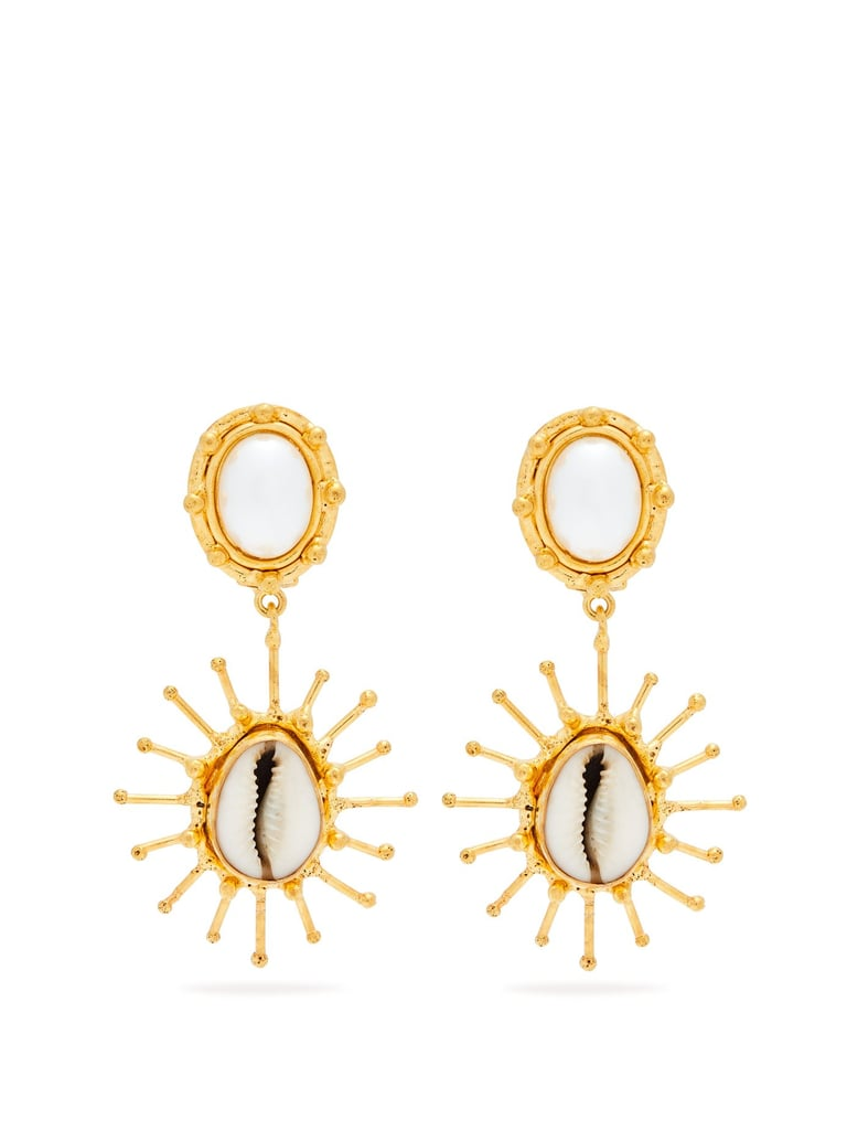 Sylvia Toledano Grigri Shell and Faux-Pearl Drop Earrings