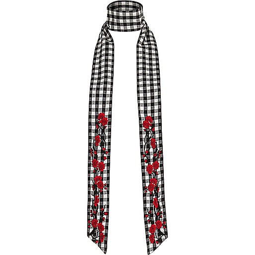 River Island Black and White Floral Gingham Skinny Scarf (£15)