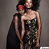 Liya Kebede and her friend embrace in dazzling looks.