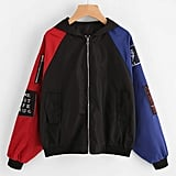 Romwe Contrast Sleeve Patch Detail Zip Up Jacket