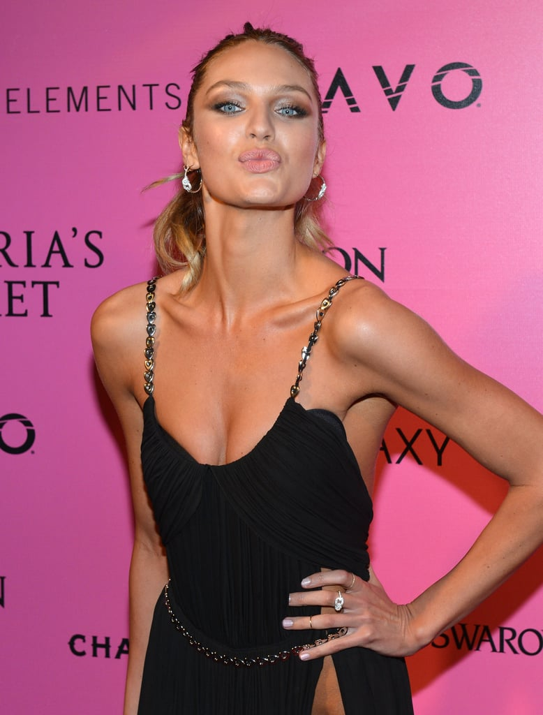 Candice Swanepoel posed for photos on the pink carpet in NYC.