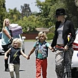 Zuma Rossdale skipped while holding hands with his brother, Kingston Rossdale.