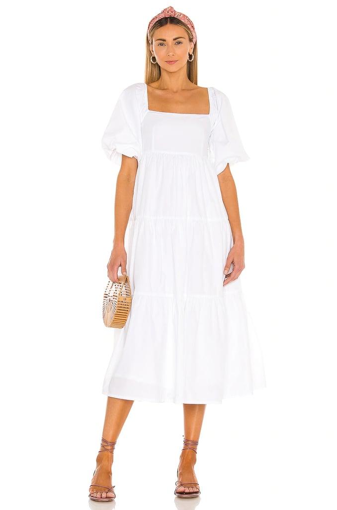Faithfull the Brand Kiona Midi Dress in Plain White