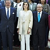 Queen Letizia Paired a Beige Jacket With a White Top, Tailored Pants, and Beige Heels