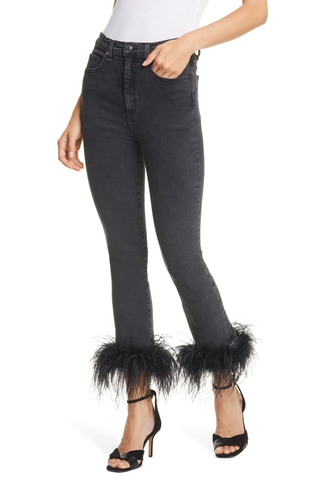 Veronica Beard Kareena Feather Hem Skinny Jeans