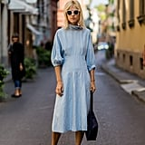 With a Simple Turtleneck Dress and Handbag