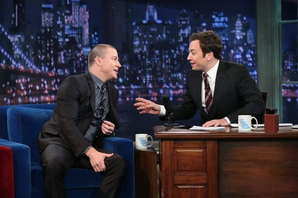 Jimmy Fallon interviewed Side Effects star Channing Tatum on his live show.