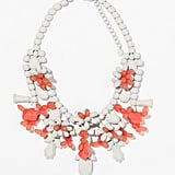 Zara white and coral painted rhinestone bib necklace ($36)