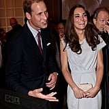 Prince William and Kate Middleton share a laugh on Friday evening.