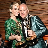 Sarah Paulson and Ryan Murphy at the 2016 Emmy Awards