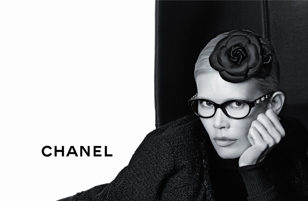 >> For Chanel's Fall 2011 eyewear collection, Karl Lagerfeld turned to one of Chanel's most iconic fixtures: the chain. Used to reinterpret classic Chanel eyewear shapes — aviators, square frames, cat-eyes — the chains are woven with lambskin leather and come in muted Fall hues like wine, taupe and navy. For the ad campaign, Lagerfeld employed another Chanel classic: long-time muse Claudia Schiffer. See all five of the Lagerfeld-shot ads here.