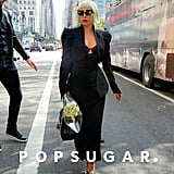 Lady Gaga Wearing a Black Cutout Dress and Matching Blazer in NYC