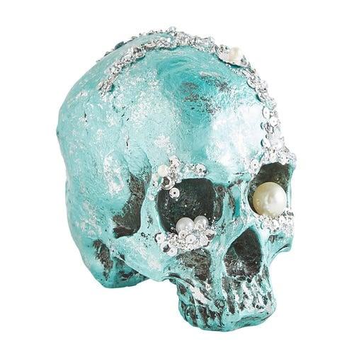 Bejeweled Turquoise Halloween Skull