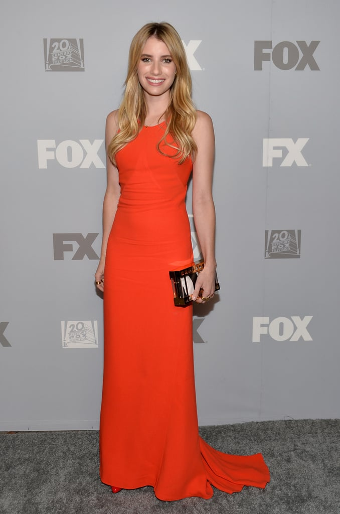Emma Roberts wore a bright dress to the FOX party.