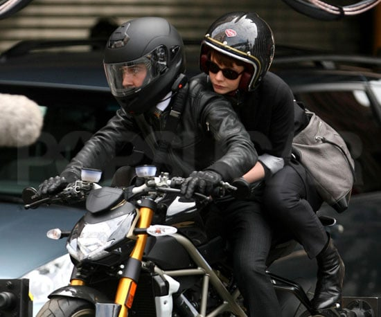 Slide Photo of Shia LaBeouf and Carey Mulligan Riding a Motorcycle on Wall Street 2 Set in NYC