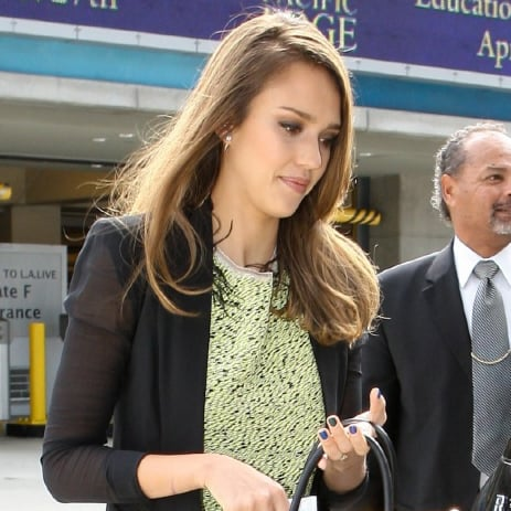 Jessica Alba Sheer-Sleeve Black Blazer