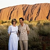 In 1983, the couple posed in front of the iconic Monolithic Rock in Australia.