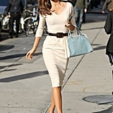 MIranda Kerr carried a blue bag in NYC.