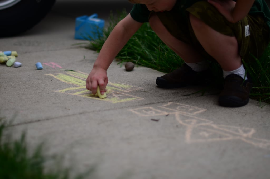 Drawing with sidewalk chalk