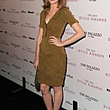 Jayma Mays kept things simple and chic in a ruched sheath and booties.